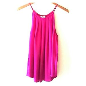 JOIE Pink Pleated Tank Cami Blouse Top